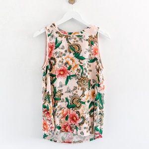 Loft Mixed Media Sleeveless Floral Blouse